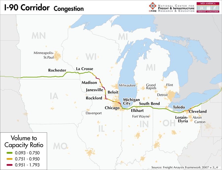 I 90 Mid America Freight Coalition - Us-interstate-90-map