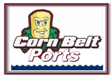 "Personified corn cob with husks peeled back. Accompanied by text ""Corn Belt Ports"". Wavy water depicted along bottom of frame."